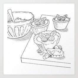 Raspberry Tarts Art Print