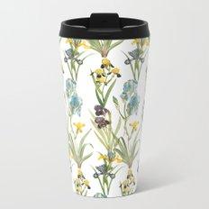 Vintage Floral Pattern | No. 2B | Iris Flowers | Irises Metal Travel Mug