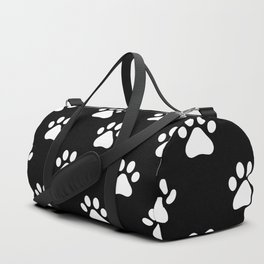 paw print black and white pattern Duffle Bag