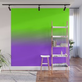 Neon Purple and Neon Green Ombré  Shade Color Fade Wall Mural