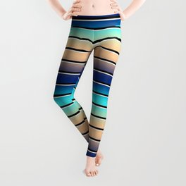 Beach Stripe 5, Variegated and Black and White Stripes Leggings