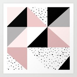 Geometrical pink black gray watercolor polka dots color block Art Print