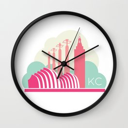 Kansas City in the Clouds - Pink Wall Clock