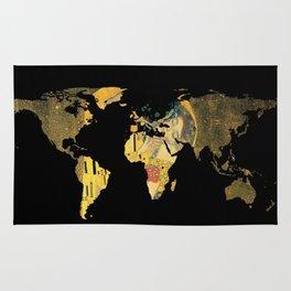 World Map Silhouette - The Kiss Gustav Klimt Rug