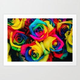 Rainbow Roses Art Print