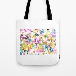 Typographic Colorado - multi rainbow watercolor map Tote Bag