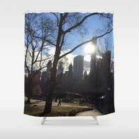 central park Shower Curtains featuring Central Park by PintoQuiff