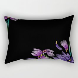 Embroidered Flowers on Black Corner 03 Rectangular Pillow