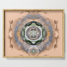 Muted Peach Boho Embroidery Sacred Geometry Mandala Serving Tray