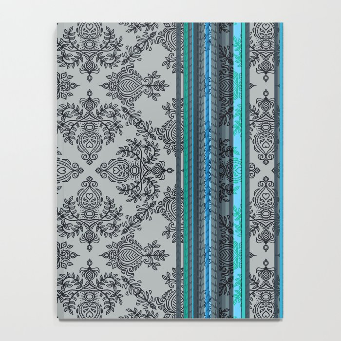 Teal, Aqua & Grey Vintage Bohemian Wallpaper Stripes Notebook