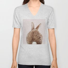 Brown Baby Rabbit Tail With Pink Background, Baby Animals Art Print By Synplus Unisex V-Neck