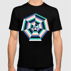 Heptagon Quilt 3 Black Mens Fitted Tee MEDIUM