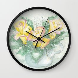 Teacup with Flowers Wall Clock