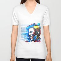 obama V-neck T-shirts featuring Obama White by Phil Fung