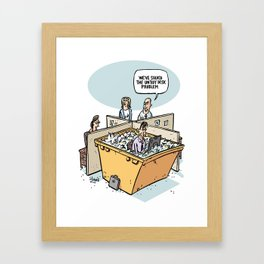 Solution to the untidy desk problem Framed Art Print