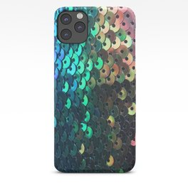 Blue, Pink, Aqua, Green and Black Sequin Pattern iPhone Case