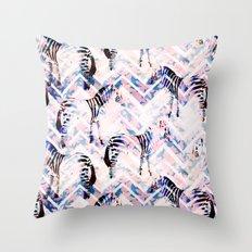 Zebras in bloom Throw Pillow