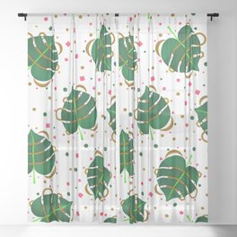 Monstera Leaves with Gold Pink and Green Geometric Confetti Sheer Curtain
