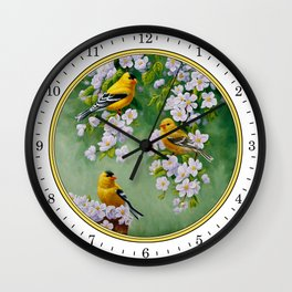Goldfinches and Spring Apple Blossoms Wall Clock