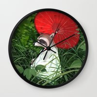 raccoon Wall Clocks featuring Raccoon by Erik Krenz