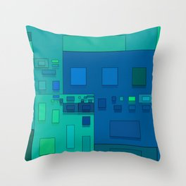 blue geometric fantasy Throw Pillow