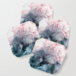 Blush and Payne's Grey Flowing Abstract Painting Coaster