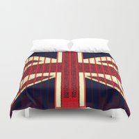 british flag Duvet Covers featuring BRITISH FLAG by shannon's art space