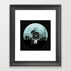 Ghostbusters versus the Stay Puft Marshmallow Man Framed Art Print