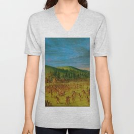 Classical Masterpiece 'Ball play of the Choctaw' by George Catlin Unisex V-Neck
