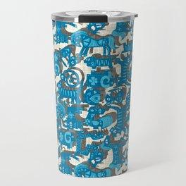 chinese animals blue Travel Mug