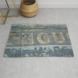 Warehouse District -- Rustic Country Chic Abstract with Letters Rug