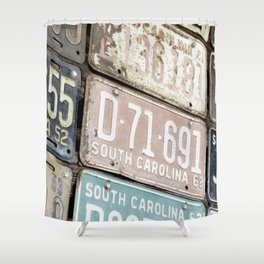 Old License Plates Shower Curtain