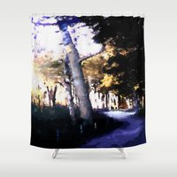 hiking Shower Curtains featuring Hiking on the Coast. by capricorn