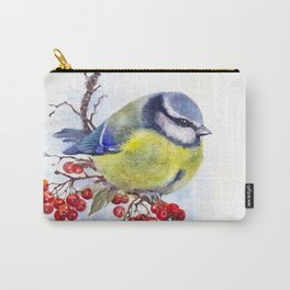 Watercolor Titmouse Great tit winter bird Carry-All Pouch