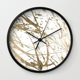 Artistic white abstract faux gold paint splatters Wall Clock