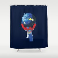 optimus prime Shower Curtains featuring Optimus Atlas by The Cracked Dispensary