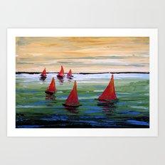 Six Sailing Art Print