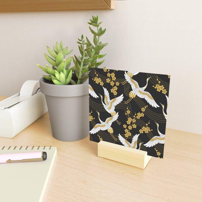 flower bird traditional patterns in japanese design - yellow on black background Mini Art Print