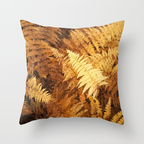 Fall Ferns - Yellows Throw Pillow