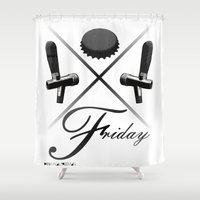 friday Shower Curtains featuring Friday by visionalfreeman