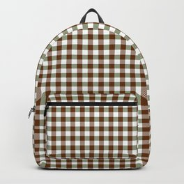 Dark Brown and Forest Green Vintage Retro Pin Check Gingham Plaid Checks  Backpack