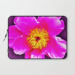 Pink flower on a wintry background Laptop Sleeve