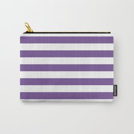 Narrow Horizontal Stripes - White and Dark Lavender Violet Carry-All Pouch