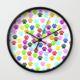 Dog Paws, Trails, Paw-prints - Red Blue Green Wall Clock