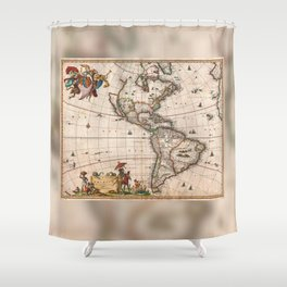 1658 Map of North America and South America with 2015 enhancements Shower Curtain