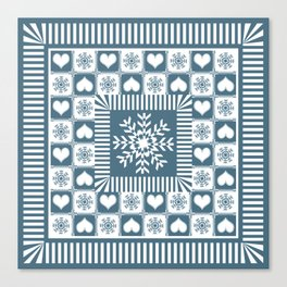 Winter Snowflake Christmas Pattern Canvas Print
