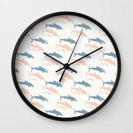 Pastel Pink and Blue Shark Silhouette Wave Wall Clock