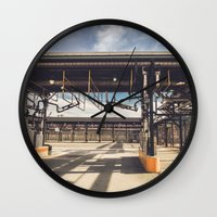 pocket fuel Wall Clocks featuring Fuel Station by Dave Rasura
