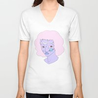 saturn V-neck T-shirts featuring Saturn by Milly Scarlett