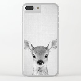 Baby Deer - Black & White Clear iPhone Case